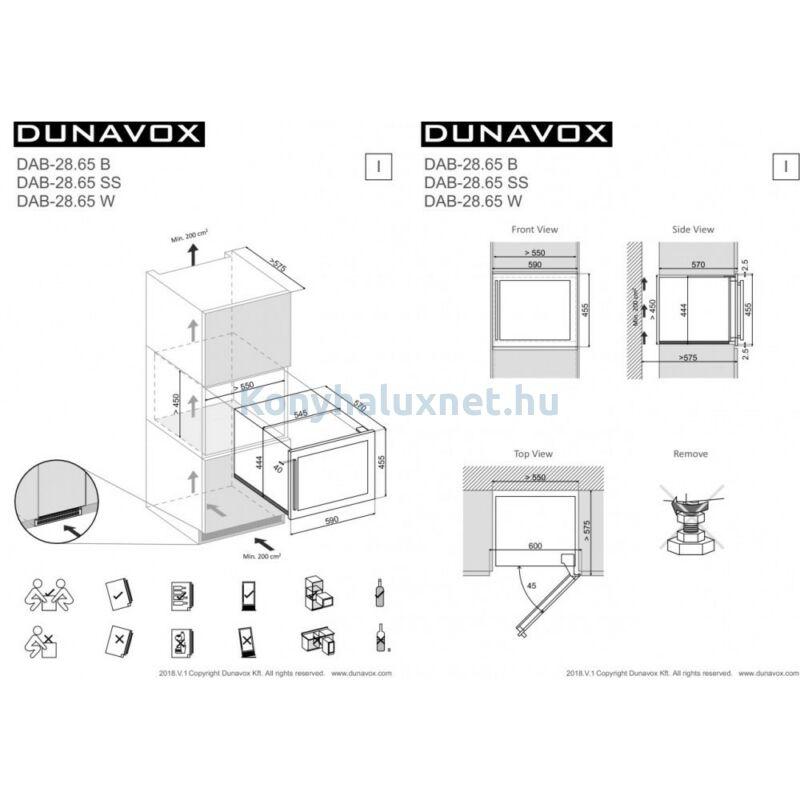 Dunavox DAB-28.65W Soul beépíthető borhűtő fehér 28 palackos