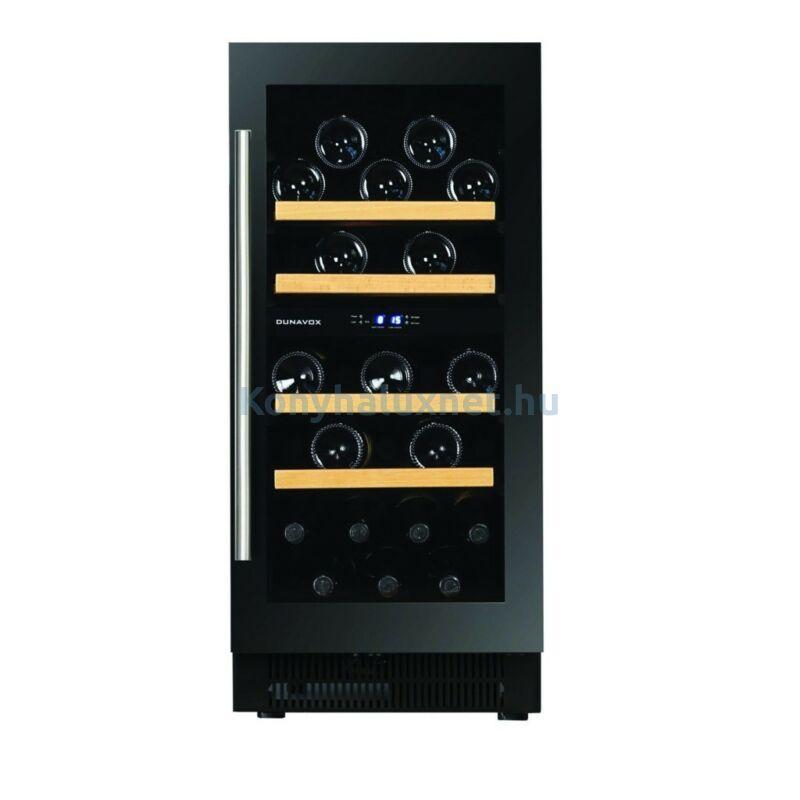 Dunavox DAUF-32.78DB beépíthető borhűtő fekete 32 palackos
