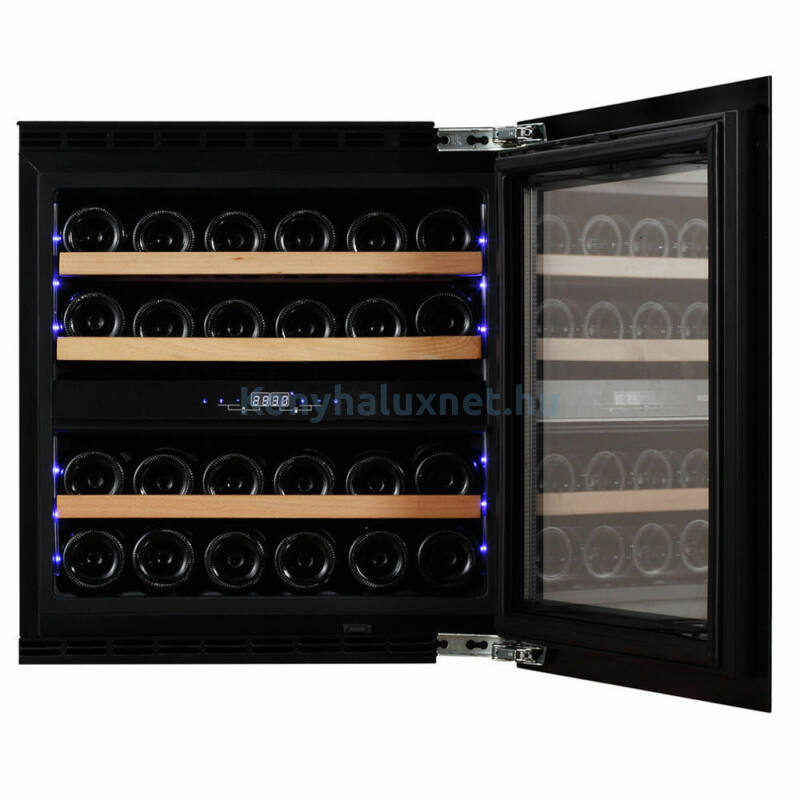 Dunavox DAVG-25.63DOP.TO Glance beépíthető borhűtő fekete/fa 25 palackos