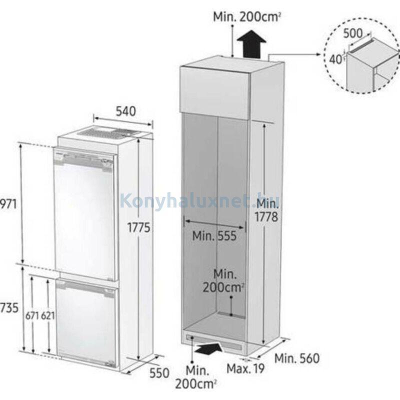 Samsung BRB26615FWW/EF beépíthető alulfagyasztós hűtőszekrény 178cm F energiaosztály