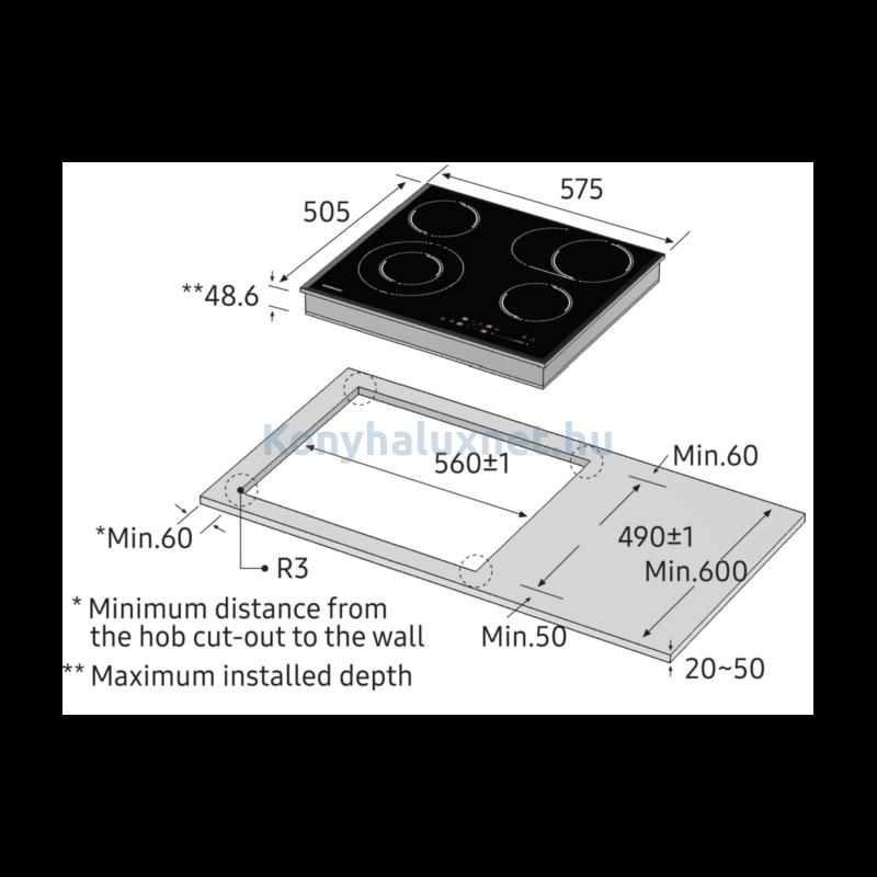 Samsung CTR164NC01/XEO Beépíthető elektromos kerámia főzőlap Fekete
