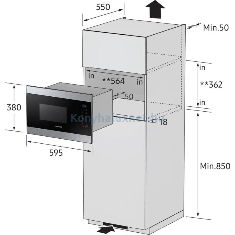 SAMSUNG MG22M8074AT Beépíthető Grill mikrohullámú sütő