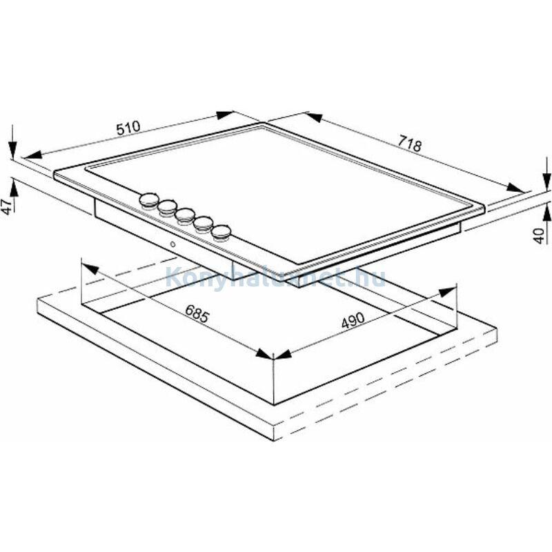 SMEG Beépíthető Kerámia Főzőlap P875AO