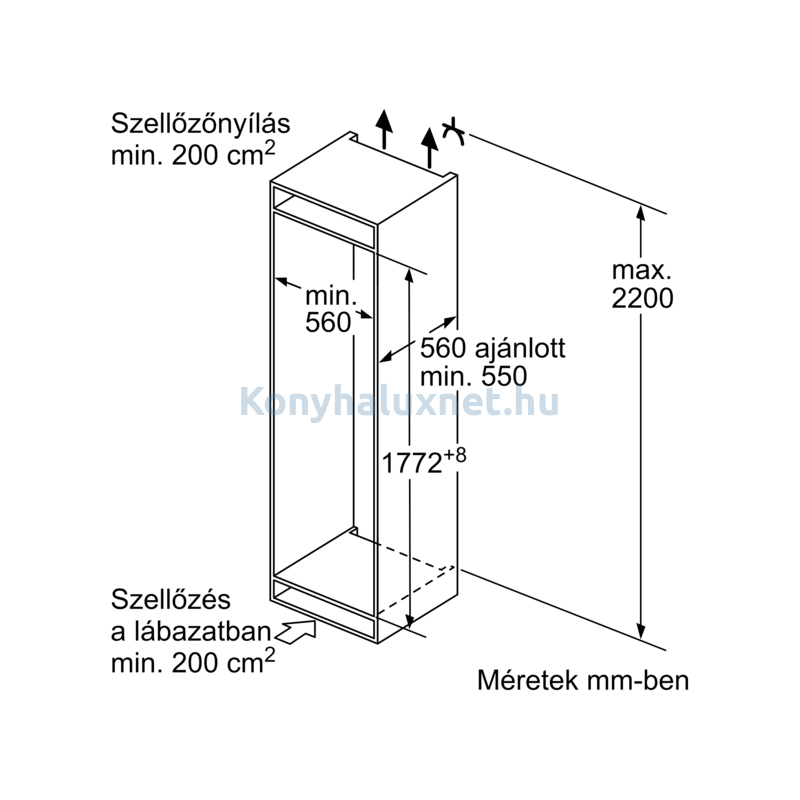 Bosch KIN86SFE0 beépíthető alulfagyasztós hűtő NoFrost VitaFresh 178cm Serie4