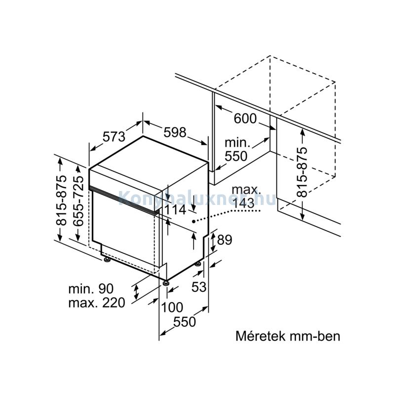 Bosch SGI4HTS31E beépíthető mosogatógép nemesacél