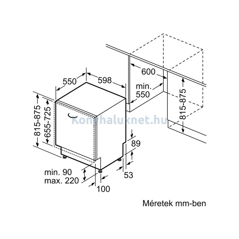 Bosch SMD4HAX48E teljesen beépíthető mosogatógép OpenAssist Serie4