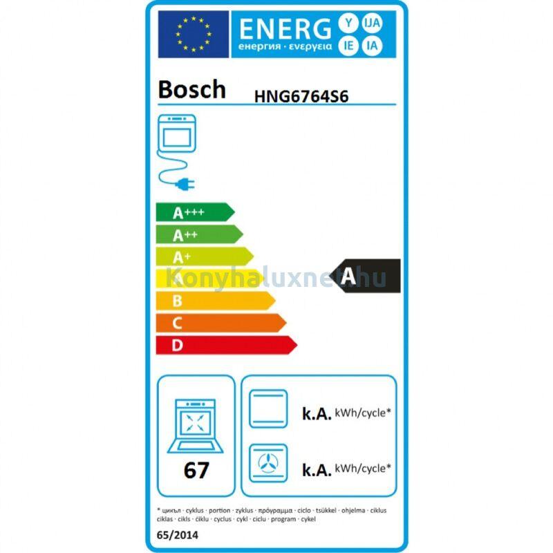 Bosch HNG6764S6 beépíthető sütő mikrohullámmal AddedSteam gőzzel Home Connect pirolítikus nemesacél 1 sütősín Serie8