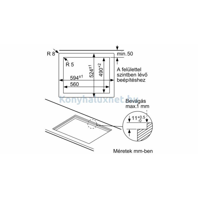 Bosch PPH6A6B20 beépíthető gázfőzőlap üveglapon
