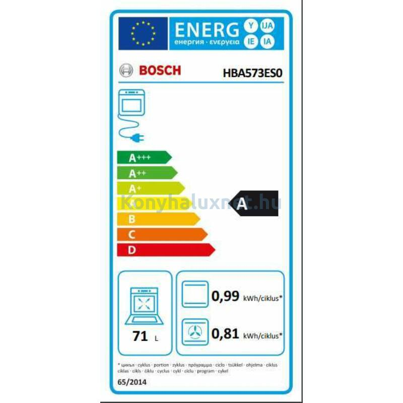 Bosch HBA573ES0 Beépíthető Elektromos Sütő