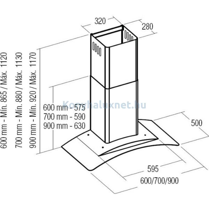 CATA Kürtős Páraelszívó Gamma Glass 900GX/E LED