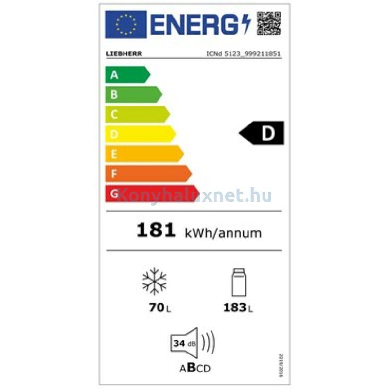 LIEBHERR ICNd 5123 Plus - Integrálható kombinált hűtő-fagyasztó EasyFresh és NoFrost funkciókkal