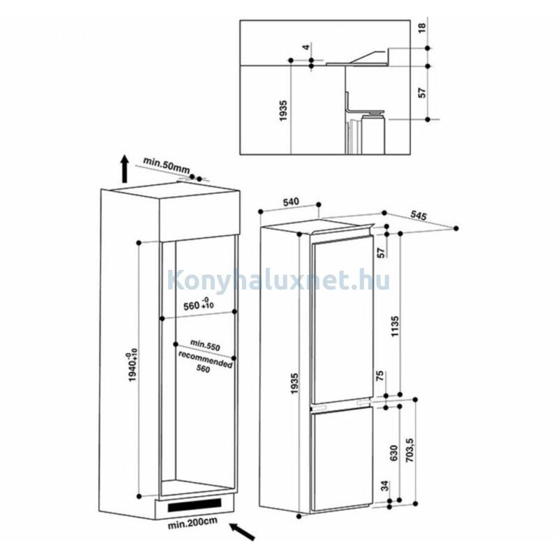 Whirlpool ART 9620 A++ NF NoFrost beépíthető hűtőszekrény 194cm
